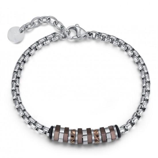Stainless steel men bracelet with brown items  BA1136
