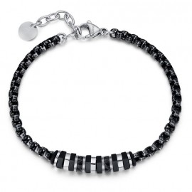 Bracelet for men in stainless steel and black elements BA1132