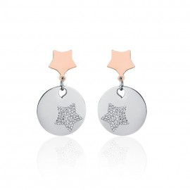 Earrings with stars and white crystals of stainless steel OK1016