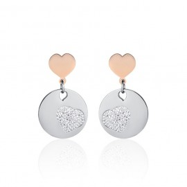 Earrings with hearts and white crystals of stainless steel OK1015