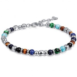 Bracelet for men in stainless steel and coloured elements