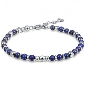Bracelet for men in stainless steel and Lapis BA1074