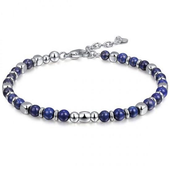 Bracelet for men in stainless steel and Lapis BA1074