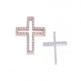 Gold Cross double color K14 with rose and white gold in two pieces with white zircon and twin chain  83083