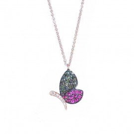 Rose gold Κ18 necklace with butterfly U190