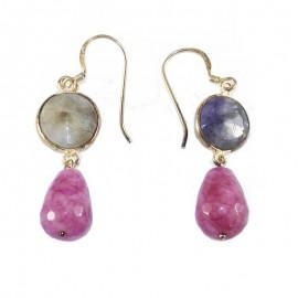 Σκουλαρίκια ασημένια επιχρυσωμένα και χρωματιστές πέτρες