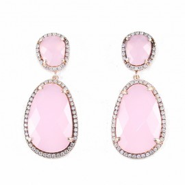 Silver earrings rose gold plated white zircons and colored stones