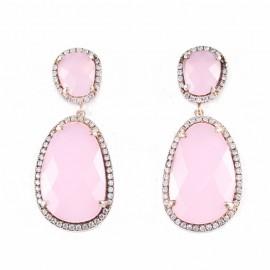Σκουλαρίκια ασημένια επιχρυσωμένα με ροζ χρυσό λευκά ζιγκόν και χρωματιστές πέτρες
