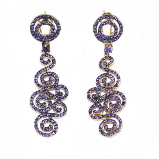 Sterling Silver gold plated and zircon earrings in amethyst color