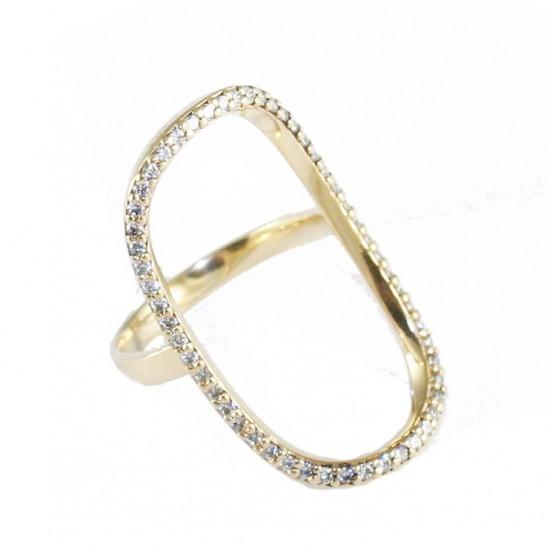 Δαχτυλίδι ασημένιο παγόδα επιχρυσωμένο με λευκά ζιργκόν Νο. 53