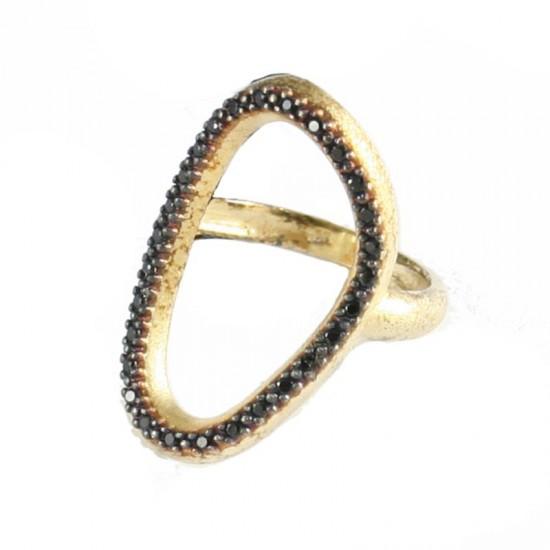 Δαχτυλίδι ασημένιο παγόδα επιχρυσωμένο με μαύρα ζιργκόν No. 53