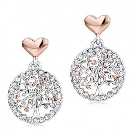 Earrings with pink hearts and the life Tree of stainless steel OK884