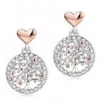 Σκουλαρίκια με ροζ καρδιές και το δένδρο της ζωής από ανοξείδωτο ατσάλι OK884