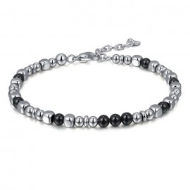 Bracelet for men in stainless steel and onyx BA1071