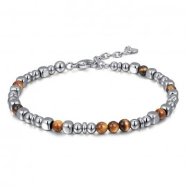 Bracelet for men in stainless steel and brown elements BA1073