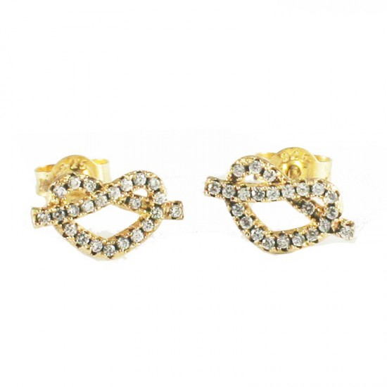 Sterling silver earrings gold plated hearts with white zircon S1804