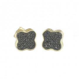 Sterling Silver Gold Plated Flower Earrings with Black Platinum and Black Zirconia