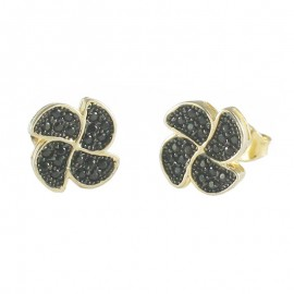 Sterling Silver Gold Plated Flower Earrings with Black Platinum and Black Zircon