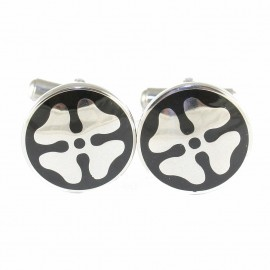 Stainless Steel cufflinks for men with four-leaf design MAT25
