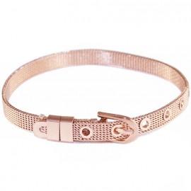 Belt type stainless steel bracelet in rose gold color SB694
