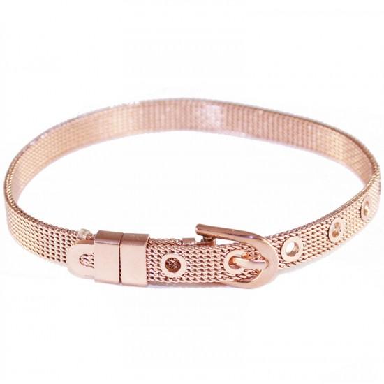 Βραχιόλι ζώνη σε χρώμα ροζ χρυσό από ανοξείδωτο ατσάλι SB694