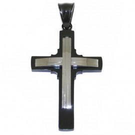 Σταυρός για τον άντρα δίχρωμος από ανοξείδωτο ατσάλι SP940