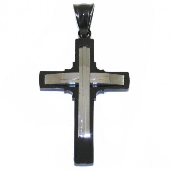 Cross for men double color made of stainless steel SP940