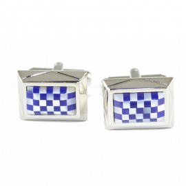 Men cufflinks with mother-of-pearl checkered design and stainless steel MAT20