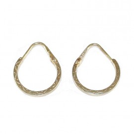 Gold earrings K18 rings with carving 1008