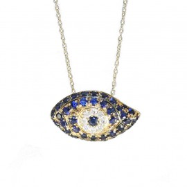 Gold necklace K18 with eye design with 42 Sapphires 0.063ct and 8 Natural Diamonds 0.06ct J / SI total weight 3.3g U33160
