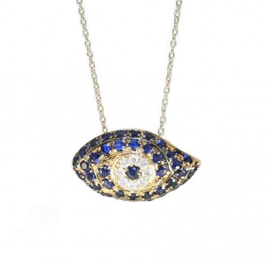 Κολιέ χρυσό Κ18 με σχέδιο μάτι με 42 ζαφείρια 0,063ct και 8 φυσικά διαμάντια 0,06ct J/SI συνολικού βάρους 3,3γρ U33160