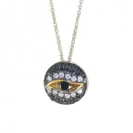 Gold necklace K18 with eye design with 14 Natural white diamonds 0,14ct and 29 Black diamonds 2,24ct U28283
