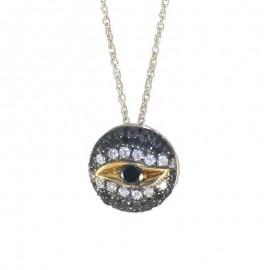 Κολιέ χρυσό Κ18 με σχέδιο μάτι με 14 φυσικά διαμάντια 0,14ct και 29 μαύρα διαμάντια 2,24ct U28283