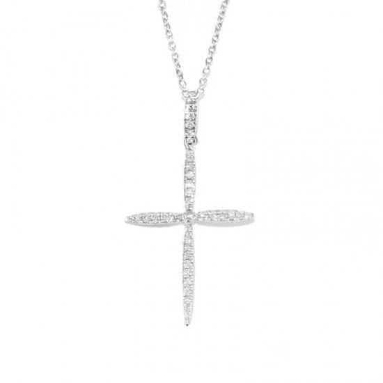 White gold K18 cross with white diamonds 0.21ct G purity VS total weight 2.5 grams KG705