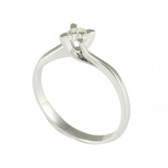 Δαχτυλίδι λευκόχρυσο Κ9 μονόπετρο με σχέδιο φλόγα με λευκό διαμάντι K40