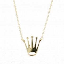 Gold necklace K14 with crown design and chain 11511