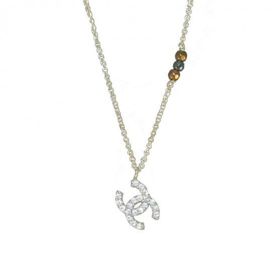 Κολιέ χρυσό Κ14 με σχέδιο chanel και λευκά ζιργκόν  13125