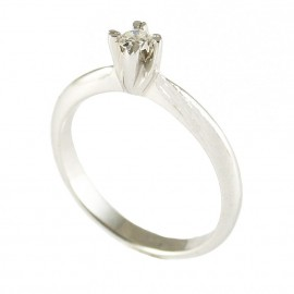 Δαχτυλίδι λευκόχρυσο Κ9 μονόπετρο με λευκό διαμάντι K019