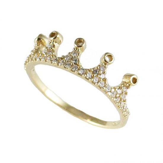Δαχτυλίδι χρυσό Κ14 με σχέδιο κορώνα και λευκά ζιργκόν 17136