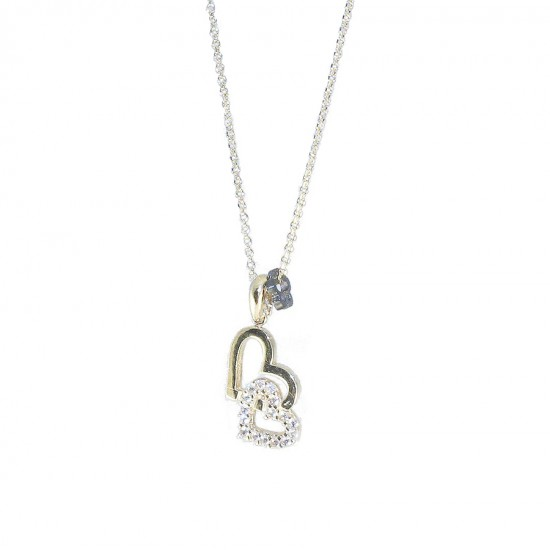 Gold heart K14 necklace with heart design in heart with white zircon Chain length 40-45cm 1918