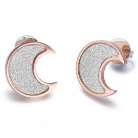 Σκουλαρίκια με σχέδιο φεγγάρι σε ροζ χρώμα και λευκό διαμαντάρισμα στην μέση OK916