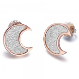 Stainless steel earrings with moon design in pink color and white glitter OK916