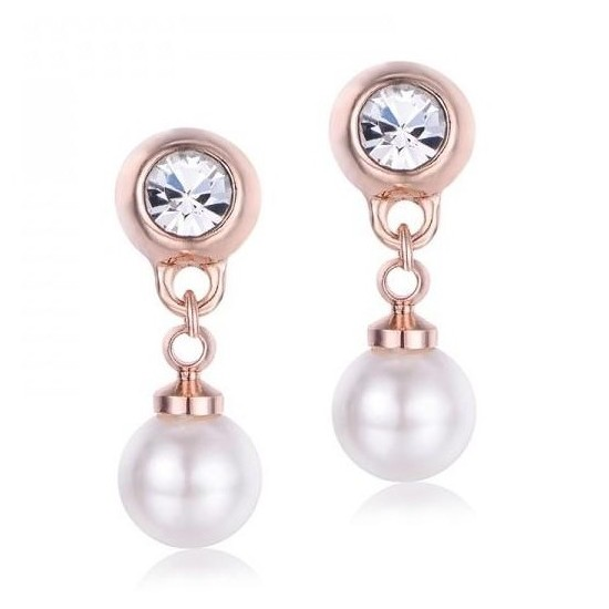 Stainless steel earrings in pink color with white zircon and pearl pendant OK899