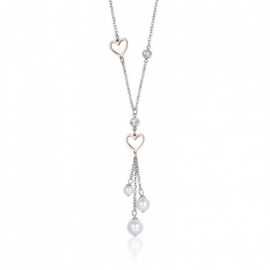 Stainless steel necklace with hearts Design white zircon and pearls Chain Length 40-45cm