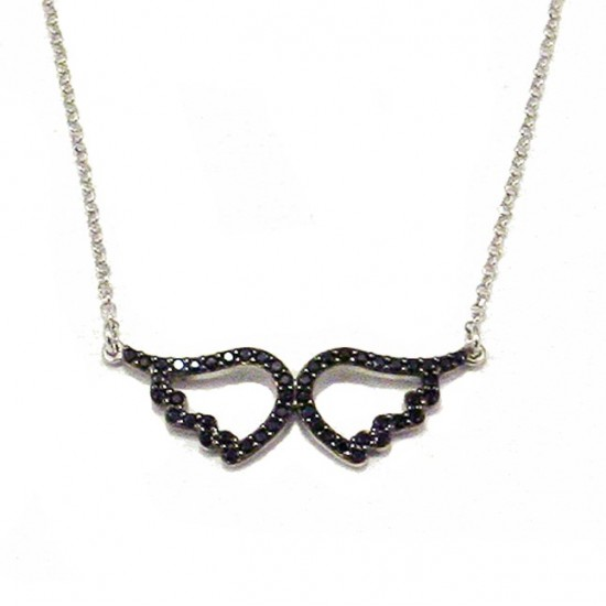 Silver necklace black platinum and black spinel Chain length 40cm-45cm