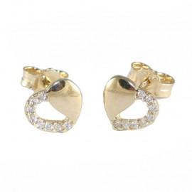 Σκουλαρίκια χρυσά Κ9 με σχέδιο καρδιές και λευκά ζιργκόν 1111H