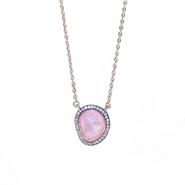 Sterling silver Pebble design necklace with rose color stones white zircon and rose gold plating Chain Length 40-45cm 04071909