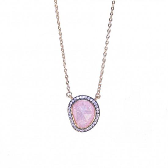 Κολιέ ασημένιο με σχέδιο βότσαλο με πέτρα σε ροζ χρώμα λευκά ζιργκόν και ροζ επιχρύσωμα 04071909
