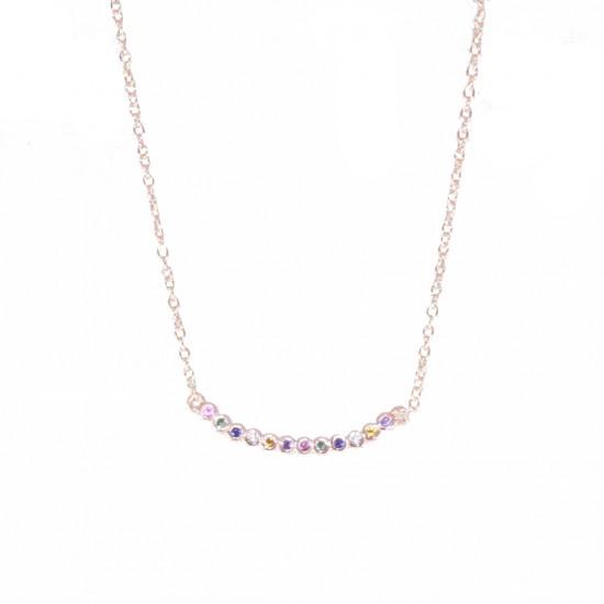 Κολιέ ασημένιο μπάρα με χρωματιστά ζιργκόν και ροζ επιχρύσωμα 04071495
