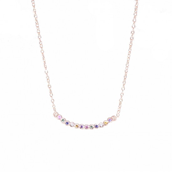 Sterling silver necklace with colored zircon and rose gold plating 04071495